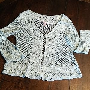 Victoria's Secret Aqua Crocheted Cardi